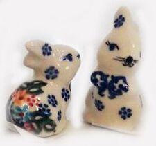 Polish Pottery Easter Bunny Rabbits mini set of 2