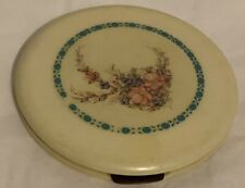 Vintage Huge Floral Embellished Celluloid Powder Compact Made In USA W/ Patent #