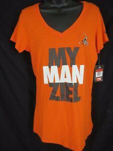 Cleveland Browns Johnny Manziel Womens Size L Large Nike V-Neck Shirt