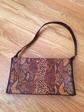 Nicole Miller Faux Lizzard Brown Leather Handbag Purse Bag. Gorgeous.