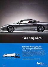 2009 Spyker Fedex - Classic Car Advertisement Print Ad J63