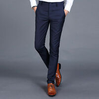 Men's Stylish Slim Fit Straight Suit Pants Business Casual Trousers New