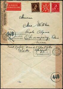 M453 Belgium censored cover Switzerland Bruxelles Champery 1945