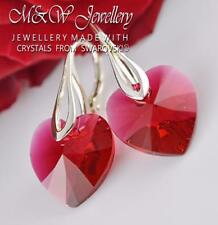 925 STERLING SILVER EARRINGS SCARLET HEART 14MM CRYSTALS FROM SWAROVSKI®