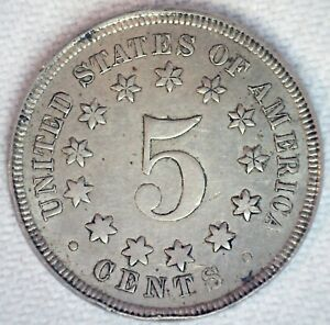 1867 Shield Nickel No Rays 5c US Type Coin Fine Circulated Philadelphia Mint