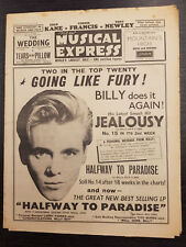 New Musical Express Magazine: Billy Fury, Connie Francis: September 15th, 1961