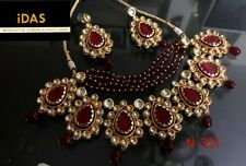 Indian Bollywood Kundan Gold plated Maroon Beads Necklace Earring Jewelry Sets