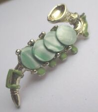 broche bijou vintage instrument musique saxo nacre teinté vert couleur or 2219