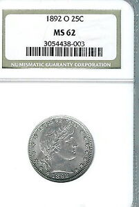 1892-O Barber Quarter : NGC MS62