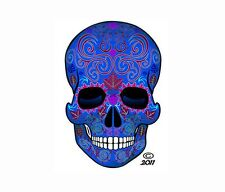 "SUGAR SKULL DECAL STICKERS Dia de los Muertos Day of Dead 4"" tall Set of 2 BLUE"