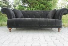 Chesterfield Sofa Black Crushed Velvet and Large footrest