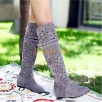 Womens Summer Hollow Out Boho Boots Pull on Knee High Shoes Hidden Heels Sandals