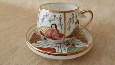 Vtg Japanese Kutani Geisha Lithophane Demitasse Tea Cup Saucer Set Gilded Marked