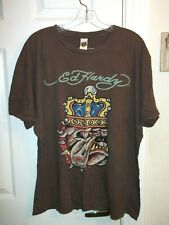 Men's Brown Ed Hardy T-Shirt By Ed Hardy size 2XL