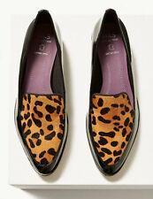 M&S Ladies Block Heel Animal Print Loafers Work Winter Smart Shoes Size 3 EU35.5