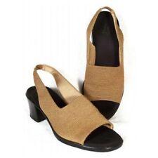 New LIFE STRIDE Women Fabric Brn Med Heel Comfort Slingback Sandal Shoe Sz 8 M
