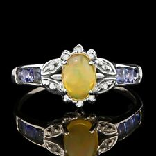 2/5 CT ETHIOPIAN OPAL & 1/3 CT NATURALTANZANITE DIAMOND 10KT SOLID GOLD RING