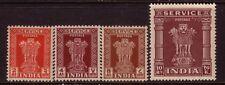 INDIA....  1950 SERVICE  2a, 4a, 8a, 10r mint