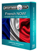 LEARN SPEAK FRENCH NOW! COMPLETE LEVEL 1 2 AUDIO LANGUAGE COURSE MP3 CD GIFT NEW