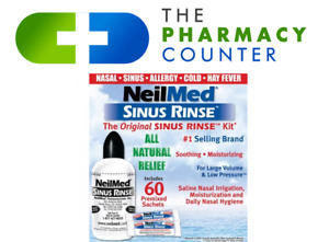NeilMed Sinus Rinse 60 Sachets kit & 240ml bottle natural saline nasal sinurinse