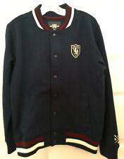 H&M Logg Boy's Varsity Bomber Jacket Navy Blue Crest Logo ~ Sz 8-10Y 134-140 Euc
