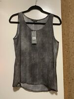 NWT $258 Eileen Fisher Scoop Neck Hazy Printed Silk Crepe Shell Top Black Sz PM