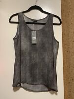 NWT Eileen Fisher Scoop Neck Hazy Printed Silk Crepe Shell Top Black Size PM
