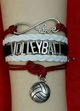 VOLLEYBALL SPORTS LEATHER CHARM BRACELET-MAROON/WHITE/BACK-ADJUSTABLE-#189