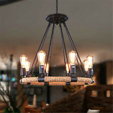 Industrial Retro 8 Bases Circle Shade Ceiling Lamp Hemp Rope Chandeliers