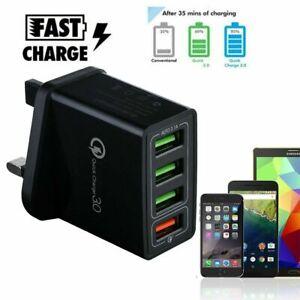 4 Multi-Port Fast Charge QC3.0 USB Hub Mains Wall Charger Adapter UK/EU/US Plug