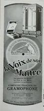 PUBLICITÉ DE PRESSE 1929 DISQUE DU GRAMOPHONE LA VOIX DE SON MAITRE