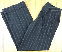 Ann Taylor LOFT Women's Dress Pants Black w/ Gold Pinstripes Cuffed Size 4 W28.5