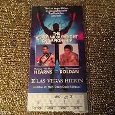 Thomas Hearns- Juan Roldan 1987 SuperFight Boxing Championship Belt Ticket Stub
