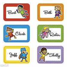 24 Superhero Name Tags...School Books...Party Identification Labels...Stickers