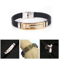Bracelet Unisex Black Stainless Steel Silicone Men Bangle Rubber Silver UK Sell
