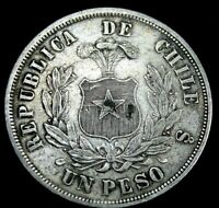 1875 Chile  Large UN Peso Silver Great Details .circulated  .re6b  A50-231