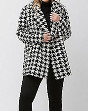 Lane Bryant beautiful black white hounds tooth long sleeve wool blend coat 26/28
