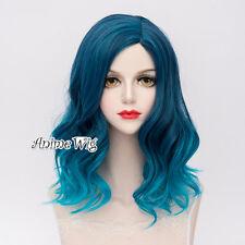 Heat Resistant Mixed Blue Wavy Women Cosplay Hair Lolita Style 45CM Medium Wig