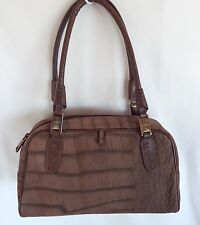 LUZ DA LUA Brown Moc Croc Leather Satchel Shoulder Bag Purse Handbag