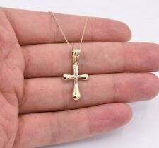 Reversible Two-Tone Cross Pendant Necklace Real 10K Yellow White Gold