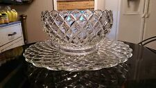 Huge Stunning Antique 18 Cup Punch Bowl On Platter