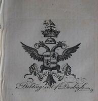 1756 Antiguo Estampado Familia Crest Abrigo De Brazos Fielding Conde Denbigh -