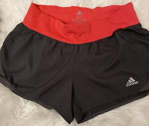 "Adidas climalite RUN IT women's Medium 3"" Running Shorts Gray/Coral"