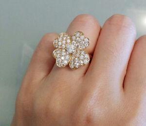 1.21CT NATURAL DIAMOND 14K YELLOW GOLD WEDDING ANNIVERSARY COCKTAIL RING
