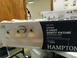 Hampton Bay Andenne 3-Light Brushed Nickel Bath Vanity Light Distressed Box