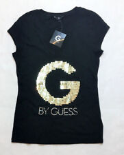 G by Guess Womens Hadley Sequin Logo V-Neck Tee/ T-Shirt, Black, Med MSRP $22.99
