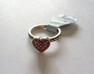 Brighton Rock Romance Ring- Size 6 - silver color -heart with red crystals