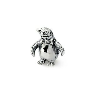 Penguin Bead .925 Sterling Silver Antique Finish Reflection Beads