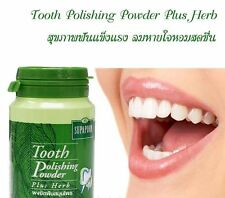 Herbal Tooth Polishing Powder Whitening Healthy Gum Reduce Cigarette Stains 90g.