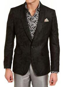 Tallia Mens Suit Jacket Black Size 38 Slim Fit Shimmer Tonal Starburst $350 #294